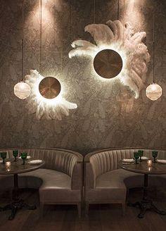 Faith & Flower | AvroKo | Restaurant design | banquette seating | wall lighting