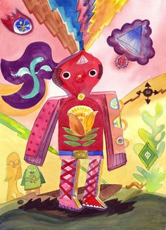 Pink robot with flower design standing on earth with nature spirits, bug, worm and electro-magnetic energy bolts. 2011 by Kelly Newcomer. Print of watercolor original .