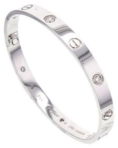 Cartier Love Bracelet with 6 Diamonds in 18k White Gold, Size 19 Box & Papers