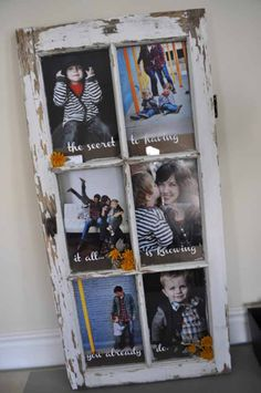 Easy Upcycling Projects | Old Window Picture Frame at http://diyjoy.com/craft-ideas-diy-picture-frames
