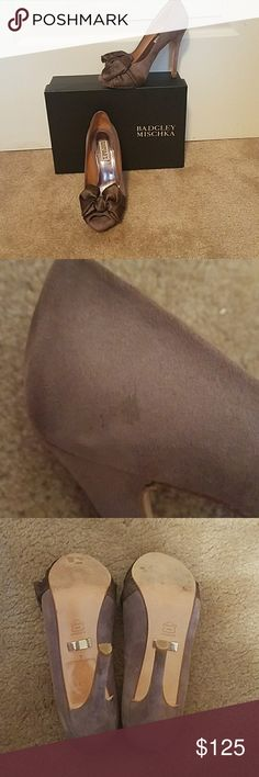 Badgley Mischka Gorgeous Peep Toe Amazing and worn once. A little tiny blemish as shown in photo would more than likely wipe off with suede cleaner. Badgley Mischka Shoes Heels