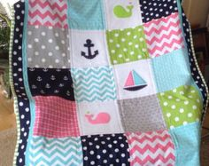 Nautical Anchor & Baby Whale quilt/Aqua Navy and от Lovesewnseams