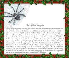 Christmas Traditions From My Family To Yours ~ The Christmas Spider! ~ Did you ever wonder why people put tinsle or garland on their Christmas tree? Christmas Spider, Christmas Poems, Christmas Bells, Diy Christmas Ornaments, A Christmas Story, First Christmas, Christmas Projects, Christmas Holidays, Christmas Wreaths