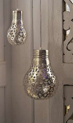 These Metallic Lights are Easily Made Using a Doily...you get an awesome pattern on the walls when you turn on the lights.