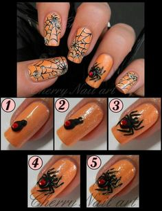 Spider Nail Art *maybe a silver web behind it?