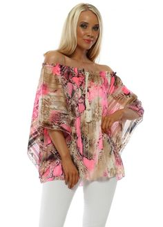 Neon pink bardot off the shoulder top available online now at Designer Desirables. Bohemian Blouses, Bardot Top, Going Out Tops, Long Maxi Skirts, Summer Looks, Snake Skin, Off The Shoulder, Tassels, Kimono Top