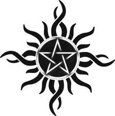 Eclipse de Pentagrama (El diseño de mi tatuaje) #Mine #Ink #Tattoo #Black #BN #Template #Plantilla #Pagan #Wicca #Pentagram