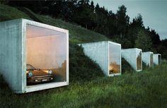 Five-car parking garage by Peter Kunz Architektur. built into the mountains of Herdern, Switzerland.