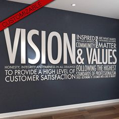 Vision & Values Letters Office Wall Art Wall Decal graphic, Vision & Values - Letters - Office Wall Art - Wall Decal - Wall Sticker - Hibryd Art - PVC - Typography - Motivational Decor - SKU:VAV Office Wall Art, Office Walls, Office Interior Design, Office Interiors, Office Designs, Interior Styling, Office Graphics, Office Branding, Corporate Office Decor