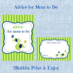 #Elephant #Themed #Baby #Shower-  #Advice for #Mom  #to  #be by 2RabbitsPrintEnjoy