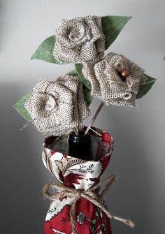 Burlap Flowers on Stems