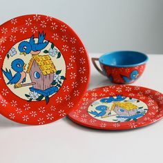 Bluebird tin litho toy tea set by Ohio Art.