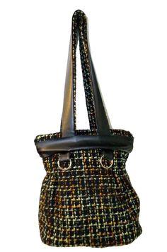 borsa in lana e cotone, borsa nera chic made in Italy, media borsa artigianale capiente di BBagdesign su Etsy
