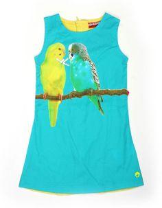 Turquoise jurk met all-over parkietenprint - Someone Kids