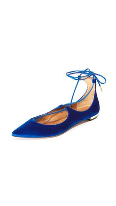 Put an edgy spin on the classic ballerina flat with these blue velvet Aquazzura…