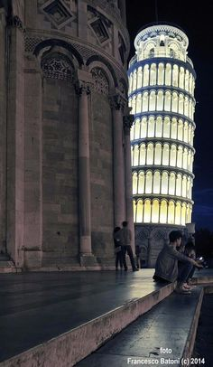 Pisa, Italy - Leaning Tower of Pisa at Night