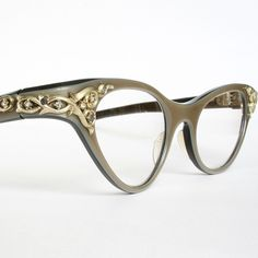 Golden Swirls on Taupe Vintage Cat Eye Glasses by May