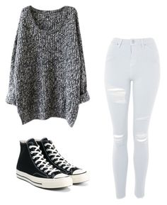 """Untitled #1"" by stumpfx ❤ liked on Polyvore featuring Topshop and Converse"