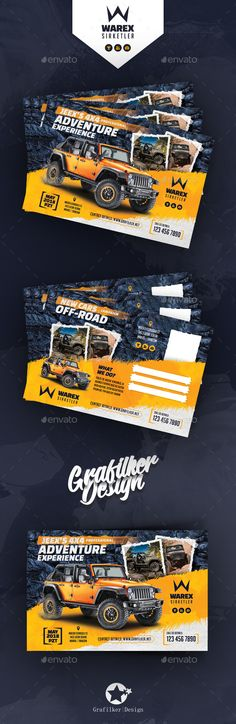 Off-Road Adventure Postcard Templates Fully layeredINDDFully layeredPSD300 Dpi, CMYKIDML format openIndesign CS4 or laterCompletely editable, print ready Text/Font or Color can be altered as needed All Image are in vector format, so can customise easily Photos are not included in the file Photos Lin