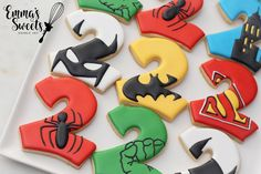 Superman Birthday Party, Avengers Birthday, 3rd Birthday, Superhero Cookies, Superhero Cake, Spiderman Cookies, Iced Cookies, Sugar Cookies, Cookie Designs