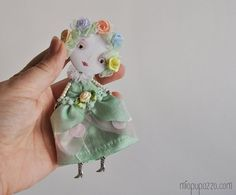 Art Doll Brooch Spring Infanta mixed media collage by miopupazzo, $29.00