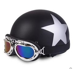 Half Face Skull design Helmet with Goggles Skull Helmet, Half Helmets, Skull Design, Bicycle Helmet, Football Helmets, Biker, Motorcycle, Unisex, Face