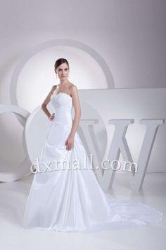 Drop Waist Wedding Dresses Strapless Sweep/Brush Train Satin White 010010700764