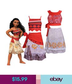 32a6978fb $14.99 - Child Moana Princess Costume Girls Kids Fancy Dress Crop Top And  Skirt Outfit #