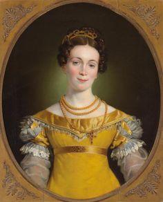 Portrait of Anna Obermayer 1819 ~ Johann-Peter Krafft ~ (German, Regency Dress, Regency Era, Miniature Portraits, 19th Century Fashion, Empire Style, Woman Painting, Female Portrait, Woman Portrait, Historical Clothing