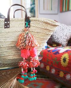 Bohemian tassel charms -- perfect to spice up a purse or market tote. Excellent craft for a class or group activity.