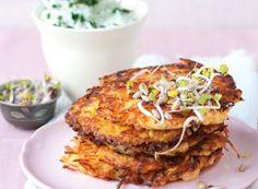 Möhren-Kartoffelplätzchen mit Kräuterquark