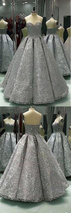 Sweetheart #PromDresses,#GrayPromDresses,Sleeveless Prom Dress,#LongBallGown,#ShinyPromDresses,Winter Formal Prom Dresses,Sequin Prom Dress