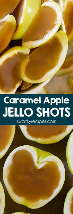 Apple cider, caramel vodka, caramel sauce, and gelatine fill apples. Friends always rave how fun these Caramel Apple Jello Shots are for a Halloween party! Watermelon Jello Shots, Strawberry Jello Shots, Candy Corn Jello Shots, Best Jello Shots, Vodka Jello Shots, Fruit Jello, Jello Shooters, Jello Salads, Fruit Salads