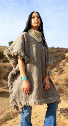 Wool Vintage Mexican Cowl Neck  Poncho Circa 1970s by Vdingy