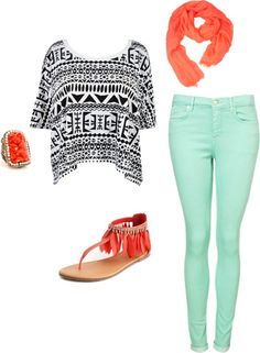 outfit: white / black tribal-printed cropped baggy tee, mint-green skinny-jeans, coral scarf, gold / coral squoval-stoned ring, tan / coral feather sandals