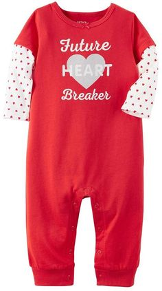 "Baby Girl Carter's ""Future Heart Breaker"" Graphic Coverall"
