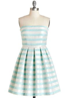 Second to Stun Dress - Stripes, Pleats, Party, Daytime Party, A-line, Strapless, Summer, Woven, Better, Mid-length, Multi, Blue, Silver, Gold