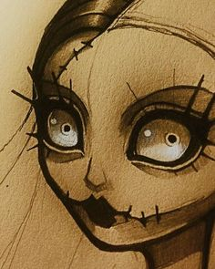 Sketch Eyes Lil sketch that looks like a hybrid of Sally Tim Burton Drawings Style, Tim Burton Art Style, Arte Tim Burton, Estilo Tim Burton, Tim Burton Sketches, Creepy Drawings, Dark Art Drawings, Coraline, Tim Burton Characters