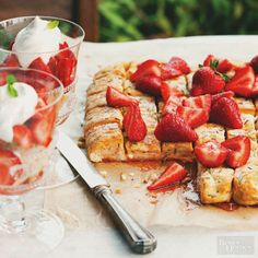 Grill or bake this unique take on traditional shortcake. The easy pizza dough gets a flavor boost from fresh rosemary or thyme -- whichever you have on hand. Serve with strawberries and whipped cream in tumblers for an elegant and oh-so-easy summer dessert.