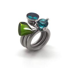 www.ORRO.co.uk - Pur Swivel - Steel & Peridot Triangle Ring Set - ORRO Contemporary Jewellery Glasgow