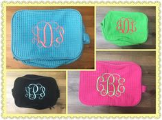 Waffle weave bags are great bridesmaids gifts! #heidis #gifts #monogrameverything