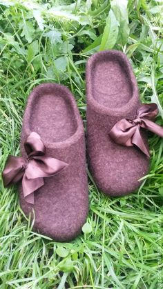Купить Домашние тапочки (шлепки) из шерсти - коричневый, домашняя обувь, валяные тапочки