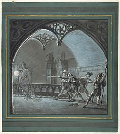Anonymous, French, 19th century. The Ghost of the King Appearing to Soldiers, from Hamlet