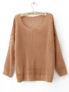 Orange Round Neck Long Sleeve Hollow Cotton Blends Sweater :)