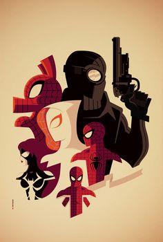 Web Warriors ~ Art by Tom Whalen #amusementphile - Visit to grab an amazing super hero shirt now on sale!