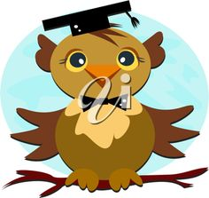 iCLIPART - Royalty Free Cartoon Clip Art Image of an Owl at Graduation