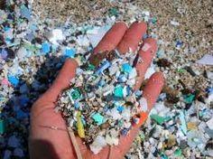 Half vergane plastic deeltjes. Plastic afval in de oceanen, de #plasticsoep is meestal onzichtbaar verkleind.
