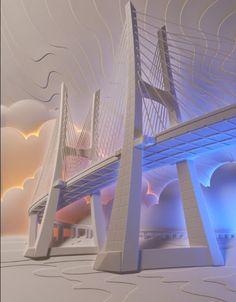 Мост в объеме из бумаги на картине с подстветкй