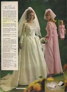 Bridal fashion from a 1968 Montgomery-Ward catalog Vintage Outfits, Vintage Dresses, Vintage Fashion, Vintage Wedding Photos, Vintage Bridal, Vintage Weddings, Brown Bridesmaid Dresses, Bridal Dresses, Dress Wedding