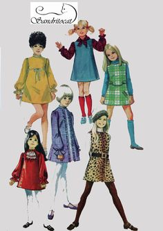 MOD Girls Dress or Jumper and Scarf ~ Six Versions Simplicity 8373 Vintage Sewing pattern Size 4 Childrens Sewing Patterns, Simplicity Sewing Patterns, Vintage Sewing Patterns, Clothing Patterns, Vintage Girls, Vintage Outfits, Vintage Children, Vintage Clothing, Mod Girl